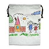 ZhiqianDF Happy Family Kids Drawings Notebook Jogging White Foldable Sack Polyester Drawstring Bag