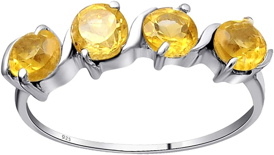 Natural Citrine Promise Rings Yellow Crystal Rings Round Cut Rings Silver Ring Vintage Rings