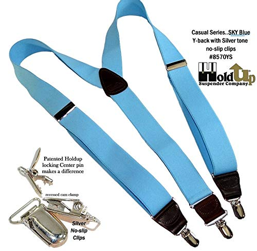 Hold-Ups Sky Blue Casual Series Suspenders X-back with Gold Tone No-slip Clips Holdup Suspender Company Inc 8570XG