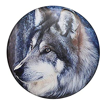 sofu Spare Tire Cover, Wheel Cover with Wolf PVC Leather Waterproof Dust-Proof Universal Fit for Jeep,Trailer, RV, SUV, Camper and Vehicle (17