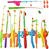 NiGHT LiONS TECH 14 pcs Magnetic Fishing Pole Tools Bath Toys Fishing Game Set Beach Toy Learning Education Toy for Baby Kids Toddler 4 pcs Magnet Parts as a Gift
