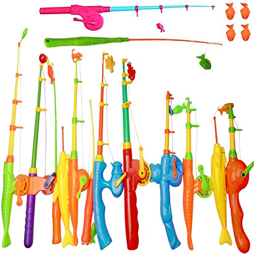 NiGHT LiONS TECH 14 pcs Magnetic Fishing Pole Tools Bath Toys Fishing Game Set Beach Toy Learning Education Toy for Baby Kids Toddler 4 pcs Magnet Parts as a Gift -