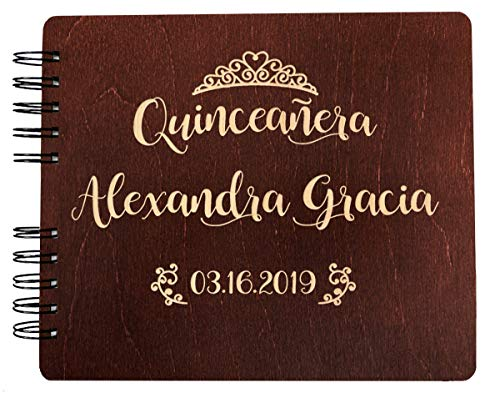 Weddings-by-StockingFactory Quinceanera Guest Book Decorations Gift Rustic Wooden Guestbook (8.5