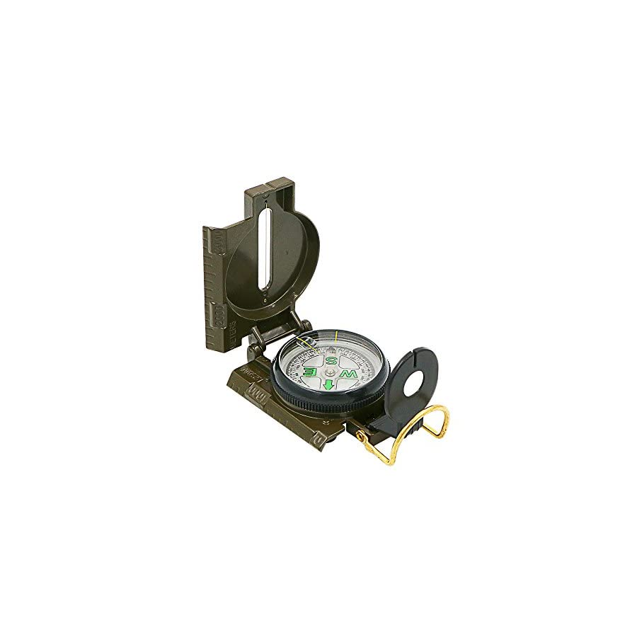 Hiking Compass, Bukm Field Military Marching Army Outdoor Camping Survival Climbing Biking Lensatic Metal Sighting Compass with Foldable Metal Lid (Army Green)