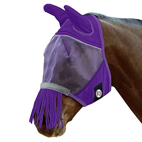 Prl Block - Derby Originals Reflective Trim Fly Mask with Ears & Fringes & One Year Warranty - Mini, Pony, Full, Oversize & Five Appealing Colors