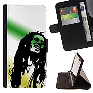 DEVIL CASE - FOR Samsung Galaxy Note 4 IV - Rasta Tones 420 Marijuana - Style PU Leather Case Wallet Flip Stand Flap Closure Cover