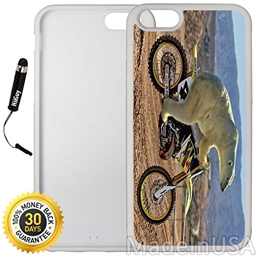 Polar Riding Bear (Custom iPhone 6 Plus/6S Plus Case (Cool Polar Bear Riding Motorcycle) Edge-to-Edge Rubber White Cover with Shock and Scratch Protection   Lightweight, Ultra-Slim   Includes Stylus Pen by INNOSUB)