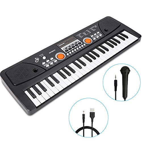 RenFox 49 Key Piano Keyboard Portable Electronic Kids Piano Keyboard Beginner Digital Music Piano Keyboard & Microphone Teaching Toy Gift for Kids Boy Girl