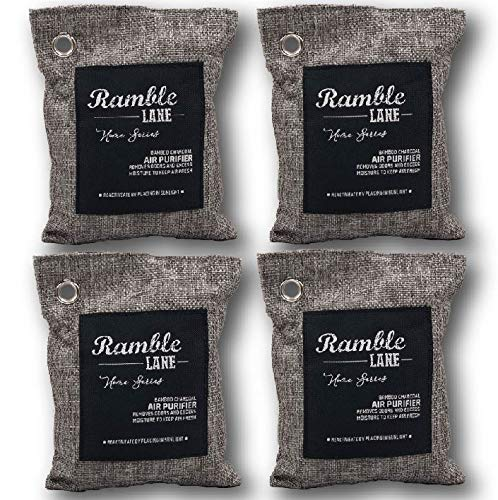 Ramble Lane 4 Pack 200g Naturally Activated Bamboo Charcoal Air Freshener Bags. Lasts 2 Years.