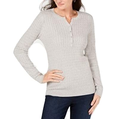 Karen Scott. Size Small S Grey Cable-Knit Pullover Sweater Henley Grey Small at Women's Clothing store