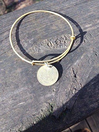 Ukraine 25 kopeks expandable style wire bangle bracelet