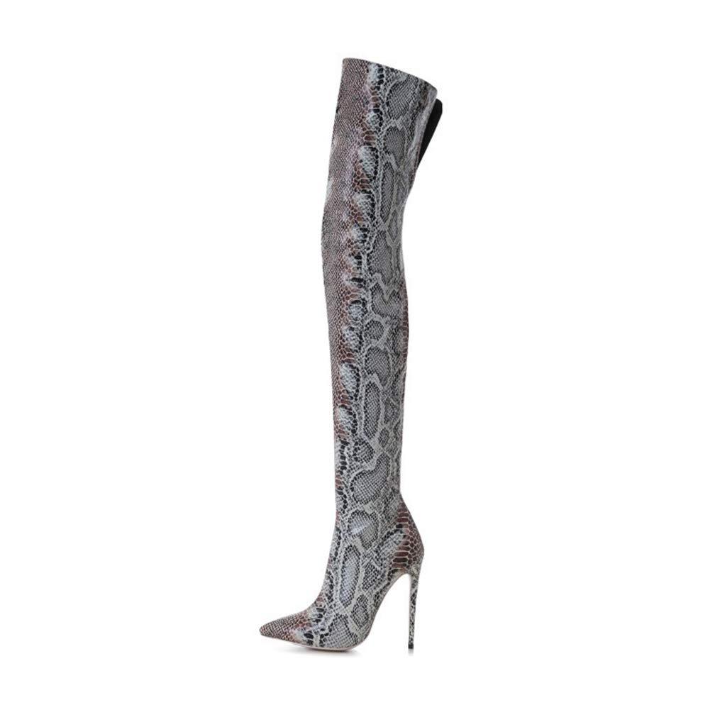 WHL.LL Frauen Wies Schlanker Absatz Kniestiefel Mode Muster Warm Bleiben Stiefel Partykleid Stiefel (Absatzhöhe  12Cm)
