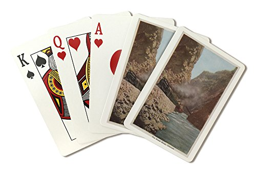 Royal Gorge, Colorado - View of Train Alongside River - Vintage Halftone (Playing Card Deck - 52 Card Poker Size with Jokers)