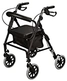 Cardinal Health Rollator Rolling Walker with Medical Curved Back Soft Seat (Black)