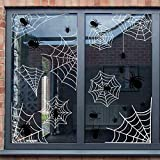 jollylife Spider Web Window Clings Halloween Decorations Decals - Haunted House Party Supplies Ornaments 58 PCS