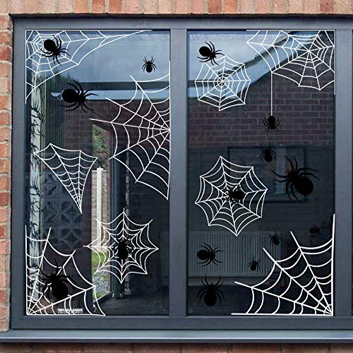 jollylife Spider Web Window Clings Halloween Decorations Decals - Haunted House Party Supplies Ornaments 87 PCS