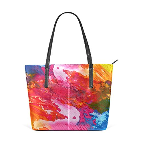LORVIES Abstract Acrylic Hand Painted Background PU Leather Shoulder Bag Purse and Handbags Tote Bag for -