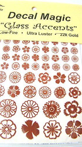 Decal Magic Glass Accents Round Flowers 22K Gold Fusing Decals. ()