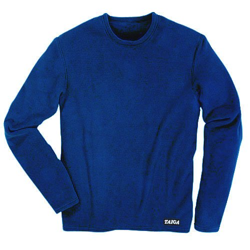 TAIGA Men's Polartec Microfleece Crewneck Long-Sleeved Fleece Shirt, Navy Blue