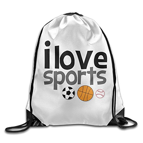 HAOHAO Men's I Love Sports Drawstring Backpacks/Bags