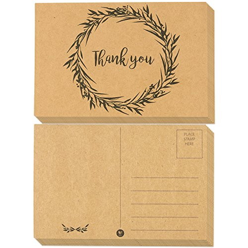 60-Pack Thank You Postcards - Kraft Paper - All Occasion Post Cards with Mailing Side- Flower Wreath Design - 4 x 6 Inches ()