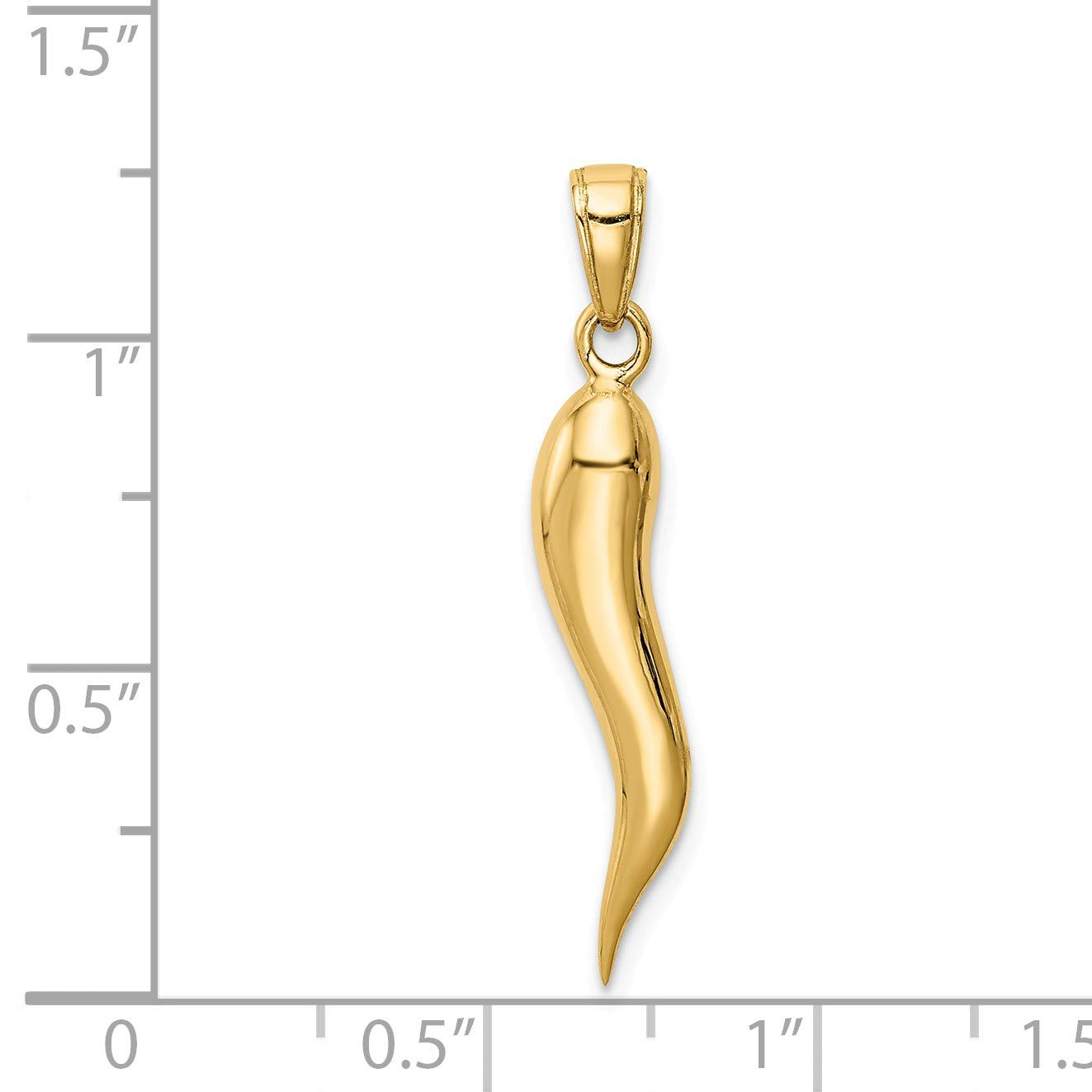 14K Yellow Three Dimensional Italian Horn Polished Fashion Pendant For Necklace