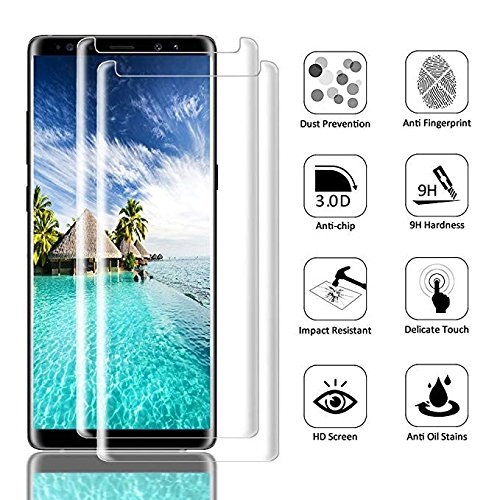 [2-Pack] Samsung Galaxy Note 9 Screen Protector, Caerrn 3D Screen Coverage Glass [Curved] [Bubble-Free] [9H Hardness] [Anti-Scratch] Tempered Glass Screen Protectors Galaxy Note 9 by LuettBiden (Image #5)