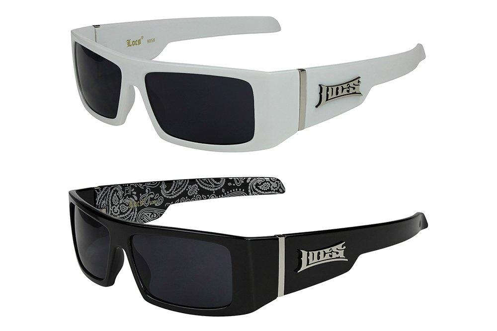 2er Pack Locs 9058 Choppers Bikerbrille Sonnenbrille Herren Damen schwarz weiß