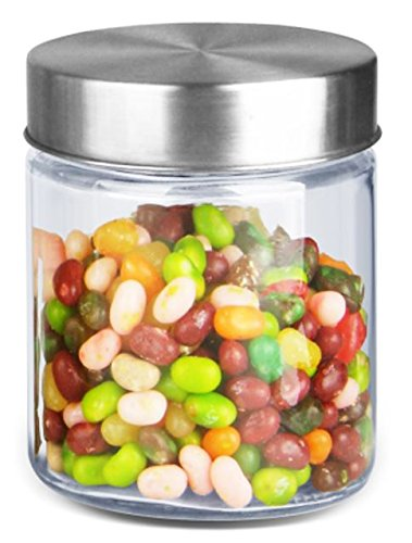 Europe Ware B2034 Glass Jar with Stainless Steel Cover, 1.2 L, Silver