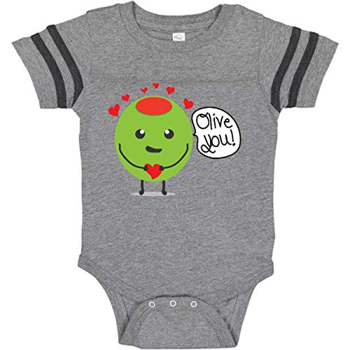 inktastic - Olive You Infant Creeper 6 Months Football Heather and Smoke ()