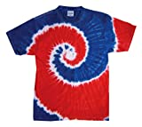 Tie-Dye 5.4 Oz., 100% Cotton Tie-Dyed T-Shirt (CD100)- Spiral Royal & Red,X-Large