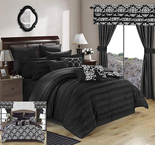 Chic Home Hailee 24 Piece Comforter Complete Bed in a Bag Sheet Set and Window Treatment, Queen, Black