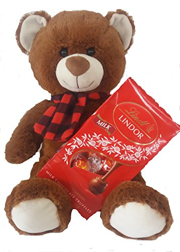 Lindt Lindor Milk Chocolate Truffles 5.1 oz and Valentines Day Plush Brown Teddy Bear Bundle - Valentine Teddy Bear Stuffed Animal Gift- My Valentine Teady Bear/Lindt Milk Truffles Valentines (Stuffed Chocolate)
