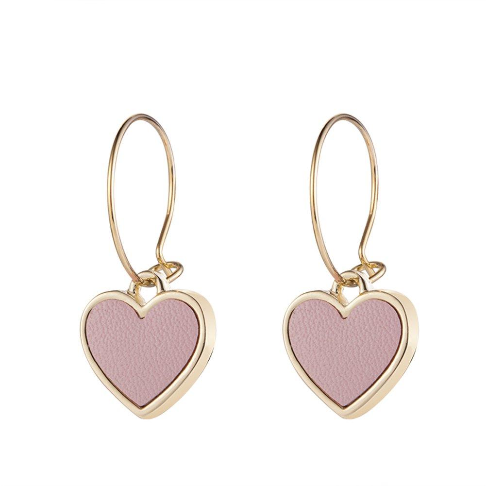 R&G DAHONGPAO Solid Metal Bow Glass Transparent Crystal Tassel Sweet Temperament Earrings (Pink)