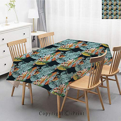 Deco Floral Print - Premium Linen Printed Tablecloth,Ideal for Grand Events and Regular Home Use,Machine Washable,40x60 Inch,Paisley,Ethnic Unusual Oriental Leaf Floral like Motifs with Peacocks on Image Print Deco