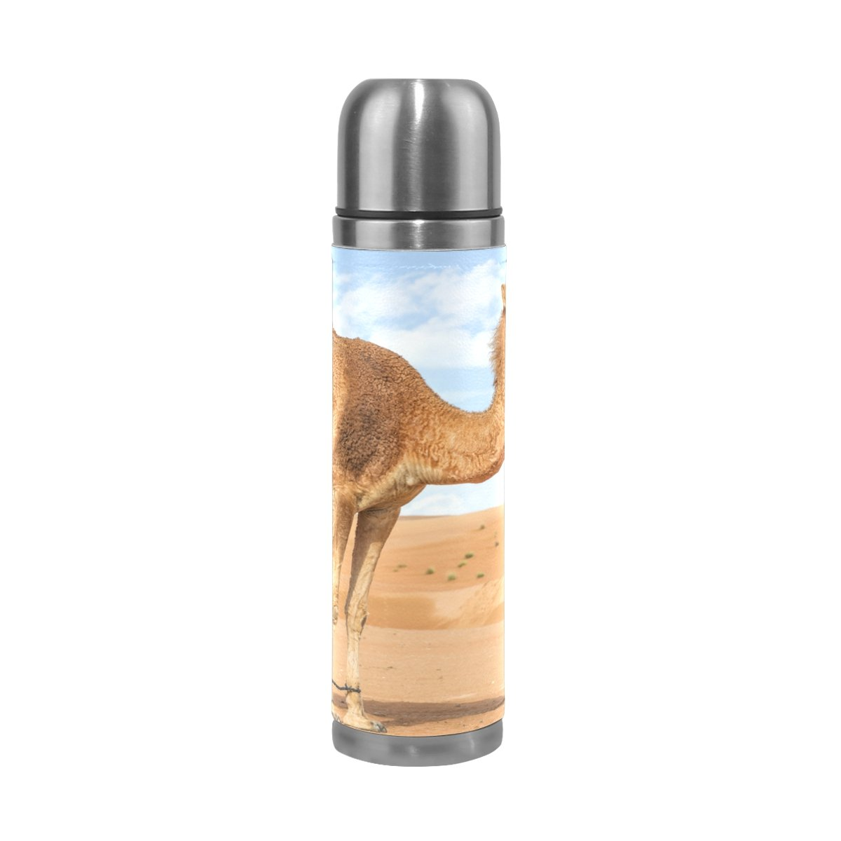 ALAZA India Wild Camel Stainless Steel Water Bottle Vacuum Insulated Thermos Double Wall Flask Genuine Leather Cover 17 OZ