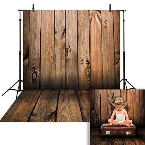 Funnytree 5x7ft Brown Wood Floor Photography Backdrop Rustic Wooden Background Dark Birch Board Retro Plank Texture Banner for Newborn Baby Kids Portrait Photo Booth Studio Props (Fence Backdrop)