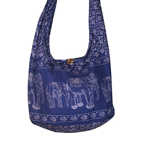 Thai Hippie Elephant Crossbody Bag Purse shoulder bag Thai Top Zip Color Dark Blue.