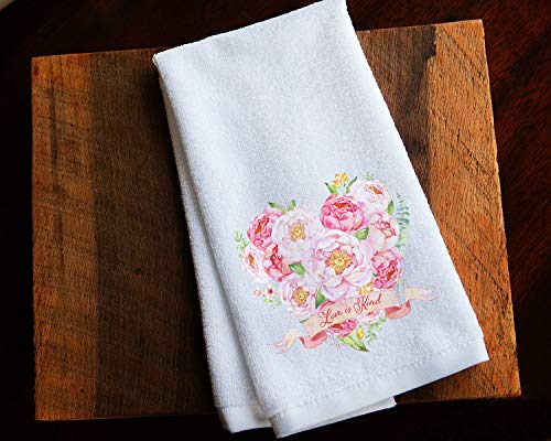 Pink Flower Kitchen Towel Mother's Day or Valentine's Gift - Love is Kind