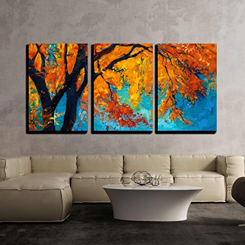 - wall26 - 3 Piece Canvas Wall Art - Original Oil Painting Showing Beautiful Autumn Tree on Canvas. Modern Impressionism - Modern Home Decor Stretched and Framed Ready to Hang - 16