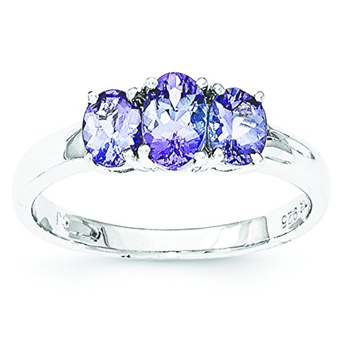 Sterling Silver 3-Stone Tanzanite Ring - Size 7