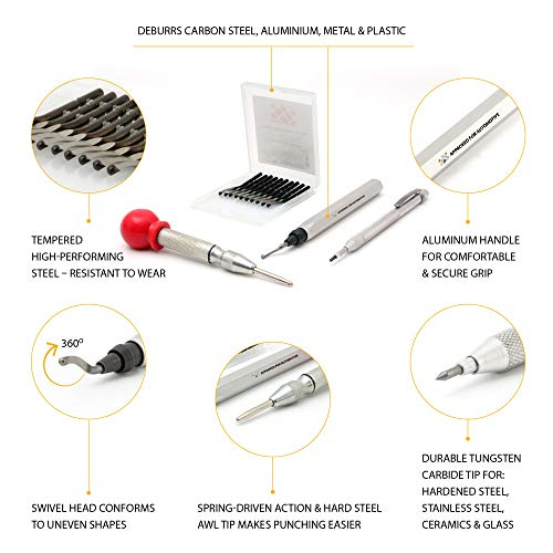 AFA Tooling Deburring Tool with Blade and 10 Extra Blades and Tungsten  Carbide Scribe and Automatic Center Punch