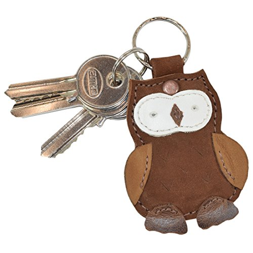 (Critter Keychain Rustic Leather Animal Key Ring Holder Handmade by Hide & Drink :: Owl)