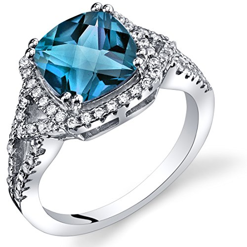Peora London Blue Topaz Cushion Cut Checkerboard Ring Sterling Silver 2.75 Carats Size ()