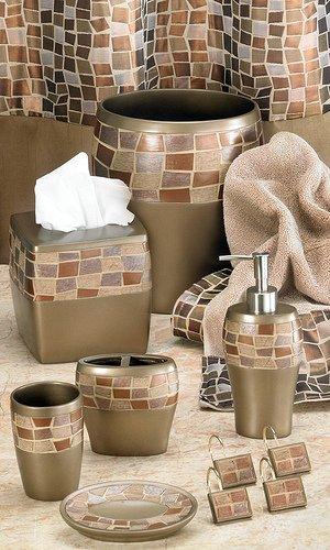 Popular Bath Mosaic Stone Bronze Tumbler by Popular Bath
