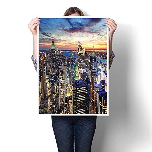 (Wall Art Painting,Decor Skyline of NYC with Urban Skyscrapers at Sunset Dawn Streets USA Architecture Oil Painting,On Canvas Modern Decoration Print Decor for Living Room,28