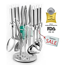 """Kitchen Gadgets Utensil Knives Set - 13 Piece Stainless Steel Block - Spatula, Serving Spoon, Spaghetti Server, Soup, Dessert Ladle, Skimmer, Chef, Bread, Carving, Utility, Paring, Knife & Sharpener 52 ✔️ ALL TOGETHER & HIGH QUALITY, set includes Spatula, Serving Spoon, Spaghetti Server, Soup, Dessert Ladel, Skimmer, 8"""" Chef, 8"""" Bread, 8"""" Carving, 5"""" Utility, 3½"""" Paring, Sharpener & Stand - All blades are made with strong heavy duty restaurant grade # 430 stainless-steel, - comply with certification from the FDA for the home and commercial use. ✔️ EASY TO HANDLE & MAINTAIN, Our classic lightweight utensils & knives is Tapered handles fit perfectly in your hand to maximize control and ensure comfort when serving or cutting, slicing, mincing and chopping all foods & cakes. These handles are a solid one piece nice design. ✔️ MODERN DESIGN! Our professional, nice acrylic block on your counter, will make your mornings easier and brighter, Plus a beautiful design box ready to be gifted, """"you deserve it!"""""""