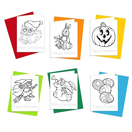 Note Cards - Holiday Wishes Happy Easter, Happy Halloween and Merry Christmas Cards for Kids to Color, Trace Letters and Practice Writing - Eco-friendly Stationery for Children - 100% Recycled Paper