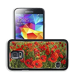 Red Poppies Flower Fields Nature Samsung Galaxy S5 SM-G900 Snap Cover Premium Aluminium Design Back Plate Case Open Ports
