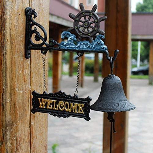 風鈴ラダー鋳鉄工芸品地中海風錬鉄製ウェルカムドアベル庭の装飾フロントドアベル27x25cm鋳鉄製ドアベル